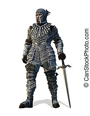 Celestial Knight with Sword - A brave knight stands with his...
