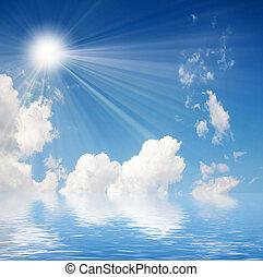 celestial landscape - beautiful cloud and solar sky as ...