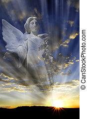celestial, luz, ángel