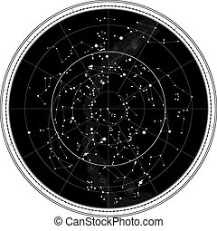 Celestial Map of The Night Sky. Astronomical Chart of Northern Hemisphere (EPS-8)
