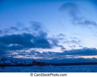 celestial, paisagem, de, a, inverno, sundown, sol