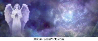 celestial, sitio web, bandera, ángel