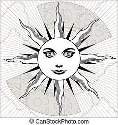 Celestial sun - Black white and grayscale sun with gears
