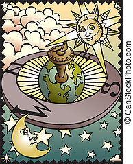 Celestial Sundial - A woodcut style image of the sun, moon...
