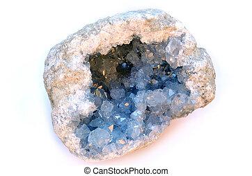 Celestine (or Celesite) geode - Single isolated geode of...