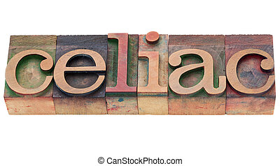 celiac, palabra, en, texto impreso, tipo