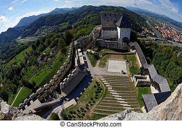 Celje medieval castle in Slovenia above the river  Savinja