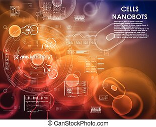 Cell background with futuristic interface elements. HUD UI...