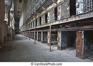 Cell block of the inside of an old prison