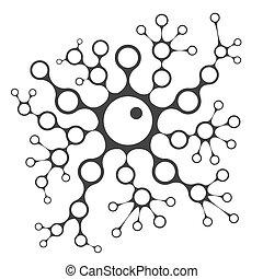 Cell division concept illustration, 2d scientific chain...