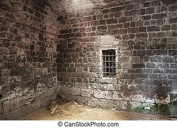 cell, fängelse, övergiven