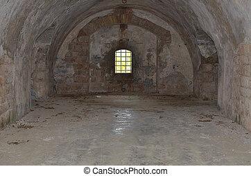 cell, fönster, fängelse
