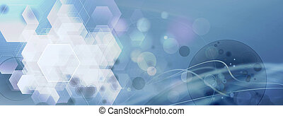 Illustration of a cell structure with copyspace. Medical health, medical technology, radiotherapy background.