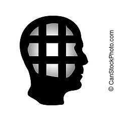 Cell in human head being in jail, struggle, lack of creativity, restrictions on the freedom of thought concept. Business concept vector illustration.