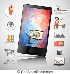 Cell Mobile Phone Vector Illustration with Colorful Squares on Screen and Technology Icons with People and World Map