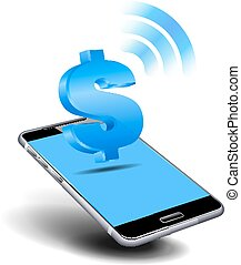 Cell, Mobile Smart Phone with Dollar Icon - Pay Cash by...