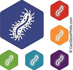 Cell of dangerous virus icons set