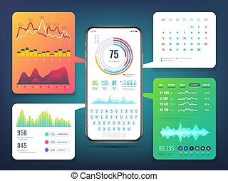 Cell phone application interface design with business infographics charts and graphs. Mobile phone ui vector eps10