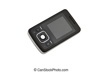 Cell phone - Black small cell phone isolated on white ...