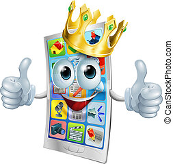 Cell phone cartoon king - Illustration of a cell phone king...