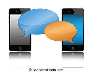 Cell phone communication illustration design
