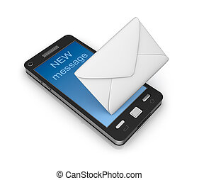 Cell phone email icon concept. Isolated on white.