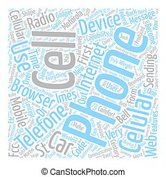 Cell Phone Features text background wordcloud concept