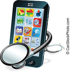 Cell phone health check concept - A mobile phone with...