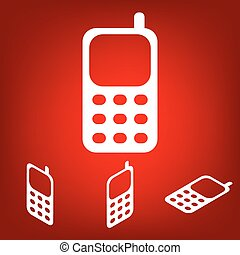 Cell Phone Icon set. Isometric effect