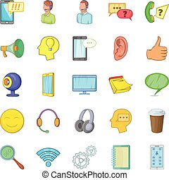 Cell phone icons set, cartoon style