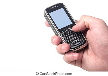 Cell phone in hand, included clipping path of the screen -...