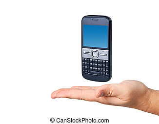 Cell phone in hand isolated on white background.