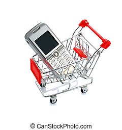 Cell phone in shopping cart isolated on white