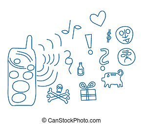 Cell phone line icons
