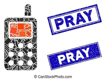 Cell Phone Mosaic and Distress Rectangle Pray Stamps - ...