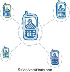 Cell phone network / People connected