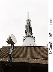 Cell phone network transmitter with telecommunication tower