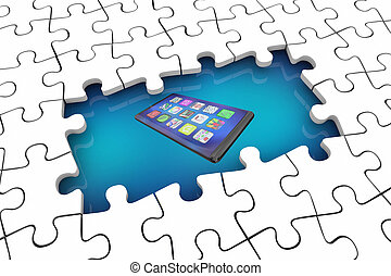 Cell Phone New Smart Device Puzzle Problem Solution 3d...