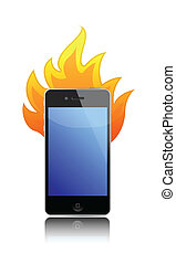 cell phone on fire over a white