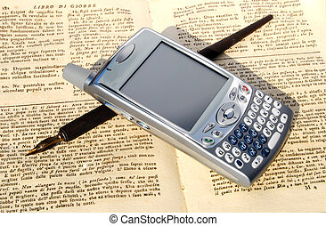 Cell phone, pen and old book
