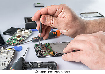 Cell phone repair. Smartphone parts and tools for recovery,...