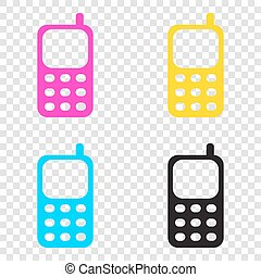 Cell Phone sign. CMYK icons on transparent background. Cyan, mag