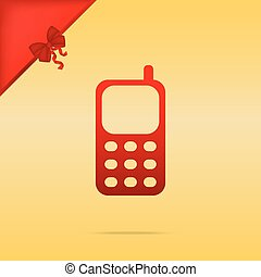 Cell Phone sign. Cristmas design red icon on gold background.