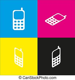 Cell Phone sign. Vector. White icon with isometric projections on cyan, magenta, yellow and black backgrounds.