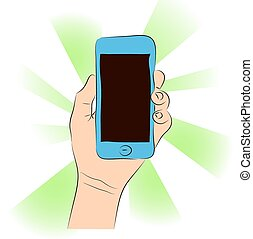 Cell phone (smartphone with touchscreen) in female hand vector drawing