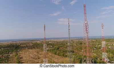 Cell phone towers - aerial view cell phone towers line in...