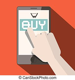Cell Phone with Buy Title and Cart with Hand