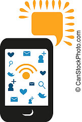 cell phone with comunication icons