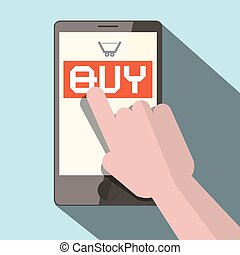 Cell Phone with Hand and Buy Button