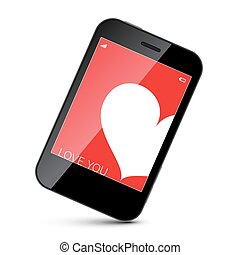 Cell Phone with White Heart on Red Screen Background. Vector Isolated Object.